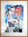 Hermano y hermana - técnica mixta sobre papel, 92 x 71 cm.