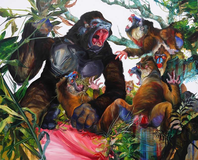 Las bestias - óleo sobre tela 148x180 cm.