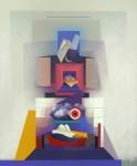 Leoncio Villanueva El Apu de Arriba y el Apu de Abajo. 120 x 100 cm 2018. +ôleo y acr+¡lico. 10000 sin igv 124x150 - Leoncio Villanueva
