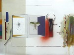 Itinerario - óleo, acrílico, spray y collage sobre papel, 56 x 76 cm.