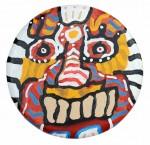 Marcos Palacios MASCARA 3 acrilico sobre madera 32 cm diametro 250 150x145 - Marcos Palacios