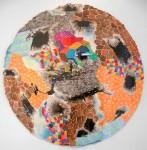 Círculo Naranja - Acuarela y tinta, 70 cm. de diámetro