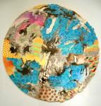 Círculo Turquesa - Acuarela y tinta, 70 cm. de diámetro