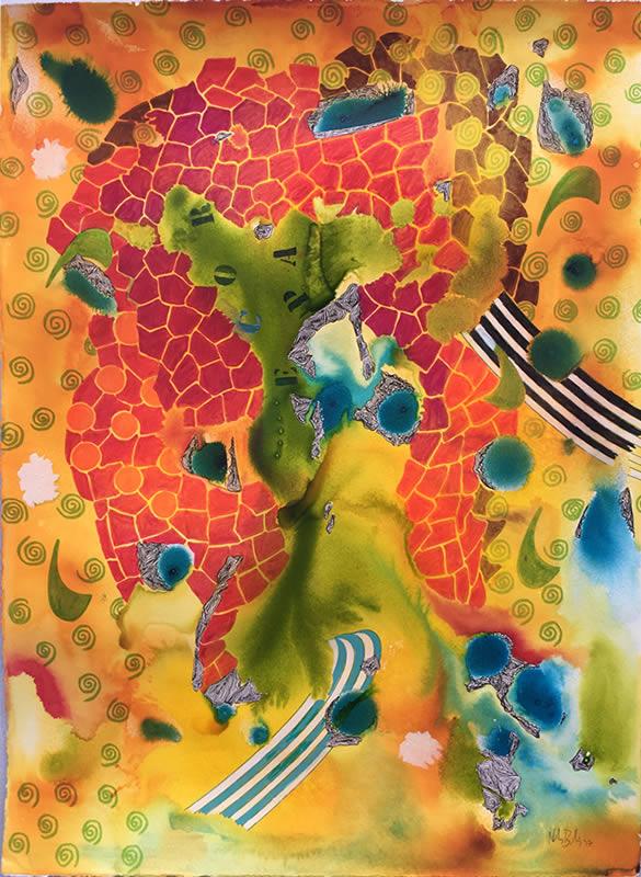 Tinta - Acuarela y tinta, 75 x 57 cm.