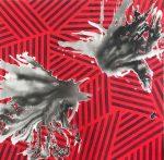 "Nader BarhumiAngeles caidos rojo tecnica mixta sobre lienzo 100cm X 100cm 8000 150x147 - ""Pinturas recientes"" de Nader Barhumi"