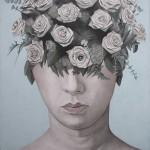 """Paolo Vigo. Rosas de papel. mixta sobre lienzo.100x100cm 150x150 - """"Abreacción"""" de Paolo Vigo"""