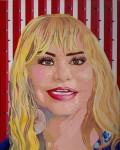 """Patricia Alor Pretell Vive la vida acrílico sobre lienzo 50 x 40 cm 2018 Ivonne Susana Diaz 120x150 -  """"Retrato Pop"""" Exposición colectiva"""