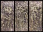 Cosmobiogenio - tríptico, tinta y tierras de color s papel de algodón, 54 x 121 cm.