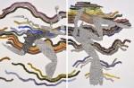 Tectónico I - tierras de color, acuarela y tinta sobre papel de algodón, 60 x 88 cm.
