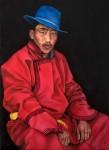 Señor mongol - óleo sobre lino, 73 x 54 cm