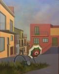 Bicicleta con sombrilla, óleo sobre lienzo, 100 x 80 cm.
