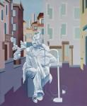 Musico callejero, óleo sobre lienzo, 60 x 50 cm.