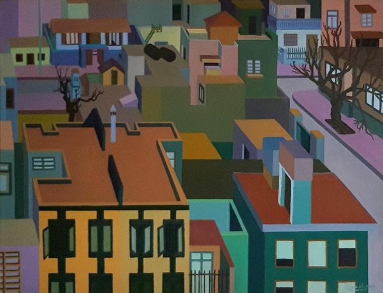 Techos, 1979, óleo sobre lienzo, 60 x 80 cm.