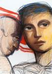 Sobre mi hombro - tiza Pastel sobre papel (Enmarcados con vidrio), 75x 95 cm
