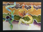 Estrato V - tierras de color, acuarela y tinta sobre papel de algodón, 60 x 50 cm.