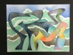 Estrato IV - tierras de color, acuarela y tinta sobre papel de algodón, 60 x 50 cm.