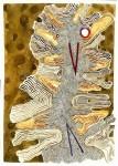 Dentro de sí - tierras de color, acuarela y tinta sobre papel de algondón, 60 x 50 cm.